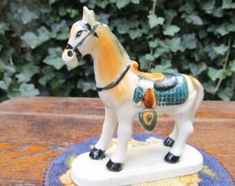 Horse with saddle Figurine - Japan Porcelain