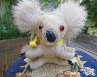 Stuffed Koala Made of Real Fur - Vintage Australian Souvenir