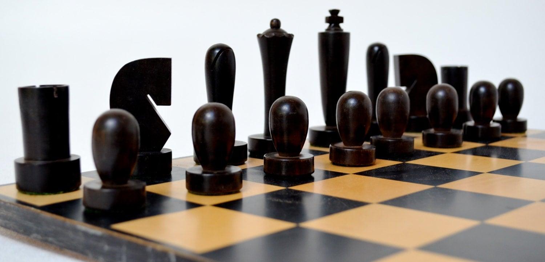 Wood Chess Set Mid Century Modern Brutalist Style Medium