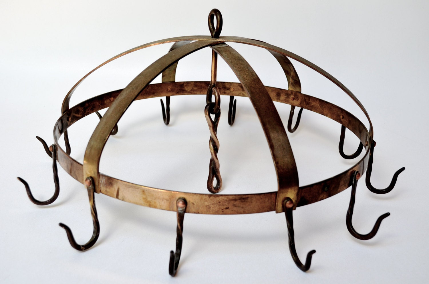 Round Dome Hanging Pot Rack in Brass Copper and Steel with