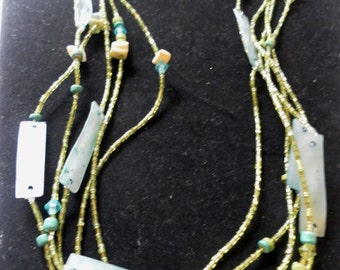 handmade island jewelry mother of pearl shell tube beads multi strand necklace