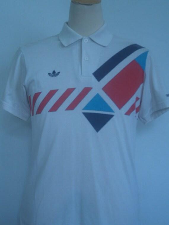 Vintage Rare Adidas Tennis Ivan Lendl Czechoslovakia 1980s Polo White Retro T shirt  Mens Small S