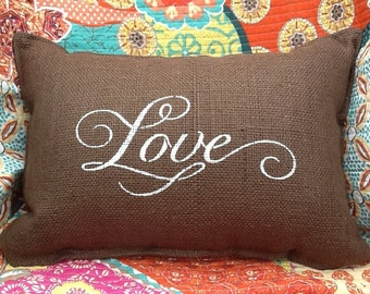 LOVE Stenciled Burlap Pillow