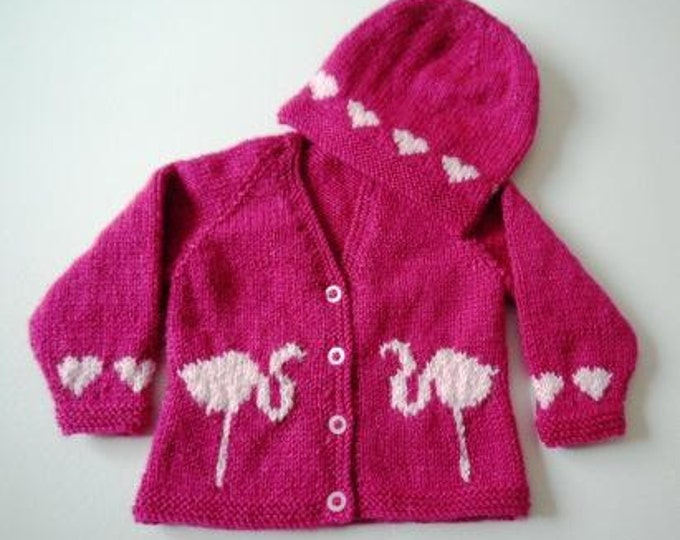 Baby Knitting Pattern for Jacket and Hat, Baby Cardigan and Hat knitting pattern, Hearts and Flamingos knitting pattern, Flamingo chart