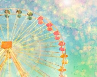 Ferris Wheel Photography, Pastel Nursery Art, Carnival Confetti, Powder Pink, Teal, Butter Yellow, Ferris Wheel, Children Fine Art, 8x10