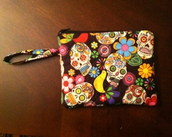Quilted Day of the dead wristlet