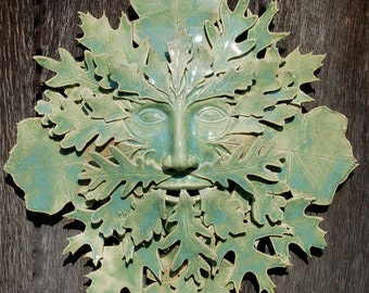 "Green man stoneware clay  ""Sacred Oak"" indoor outdoor wall art 18""x18""x4"