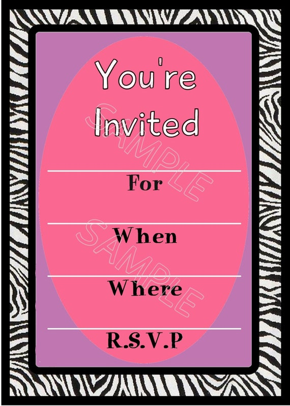 items similar to girl's zebra blank birthday or any occasion, Birthday invitations