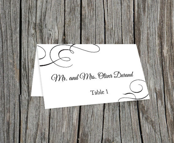 Sample printable editable wedding place cards by for Place cards for wedding