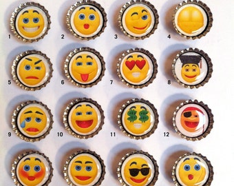 Bottle Cap Magnets -- Emoticons