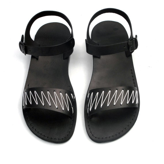 Men's / Unisex Black Leather Sandals with White Yarn ZigZag Pattern US Size 8 / 8.5 / 9 / 10 / 11 / 12 EU Size 41 / 42 / 43 / 44 / 45 / 46
