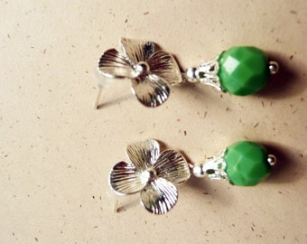 CLEARANCE Earrings, Grass green and silver flower dangle post earrings No. 140