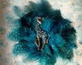 Teal Polka Dot Feathers With Giraffe Jewel Piece