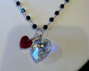 two-hearts-are-better-than-one necklace/jet ab crystal with clear ab & siam hearts