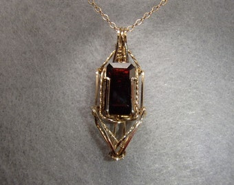 Necklace, Faceted Red Garnet and 14ky gold-filled Wirewrap