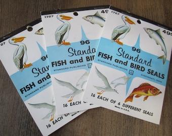 Vintage Stickers Fish Bird Animal Seals Vintage Book NOS Standard Dennison Eureka Gum Gummed Seals (#93)