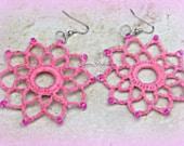 Pink Crochet Earrings, Crochet Jewelry, Boho Style Jewelry,Statement Earrings