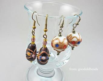 Vintage Earrings 2 Pairs Wedding Cake Beads Lampwork Beads Jewelry Supplies