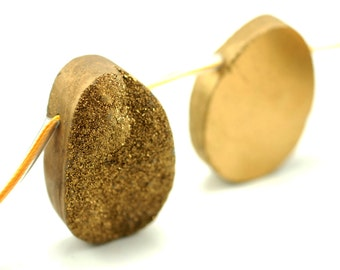 Magnificent Huge Gold Freeform Druzy Loose Beads 5 Beads B80DR5601