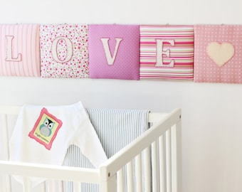 Fuchsia and green LOVE wall letters / Pink mix decorative hanging sign /costom made nursery art /Embroidered Love Letters sign /Home Decor
