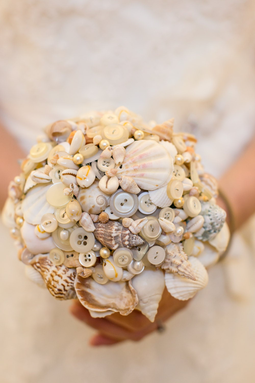 Button Bridal Bouquet Etsy : Shell and button bouquet