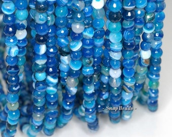 6mm Melody Blue Agate Gemstone Blue Swirl Faceted Round 6mm Loose Beads 15 inch Full Strand (90148350-158)