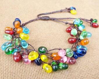 Multi Colour Glass Bead Cluster Bracelet