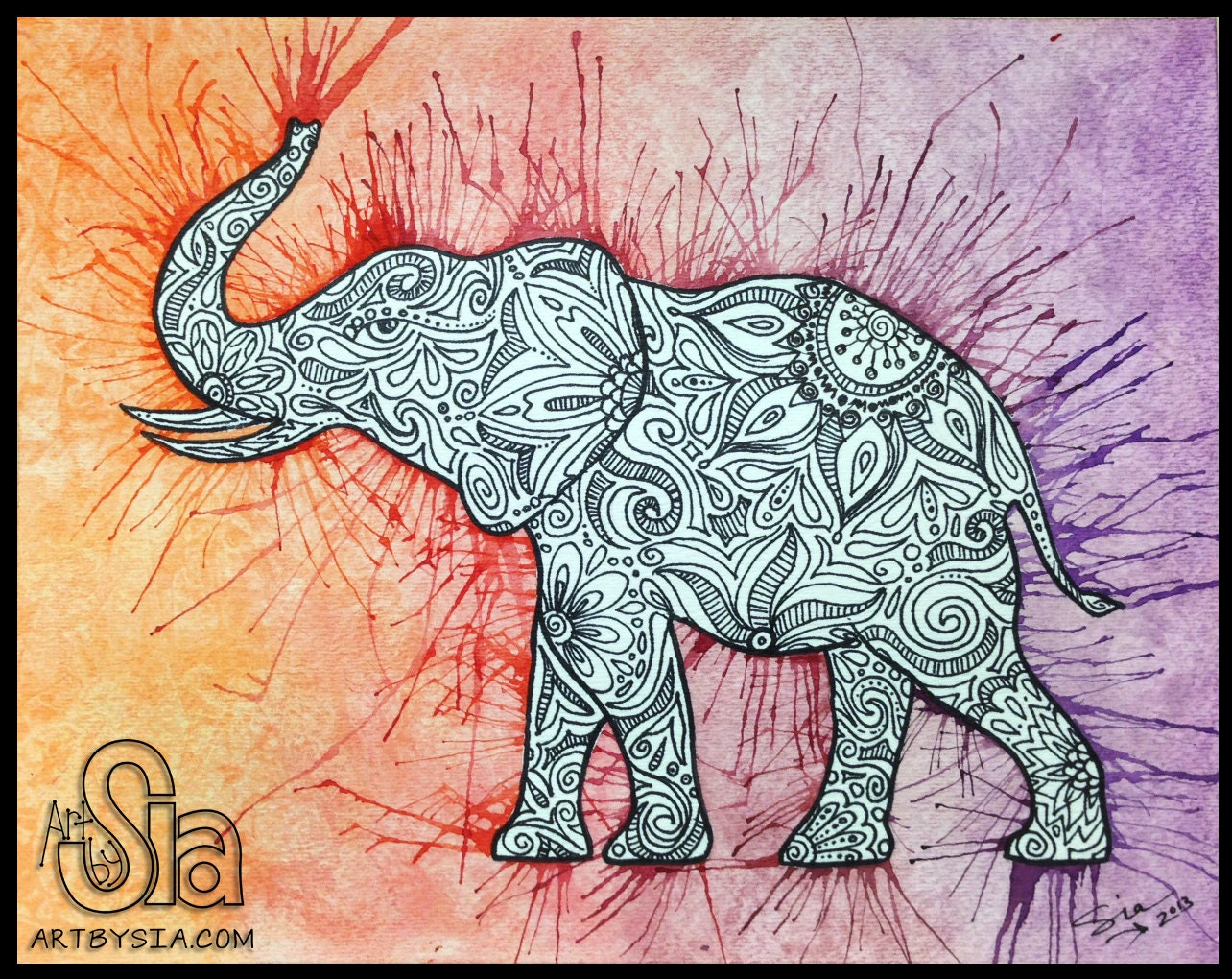 Watercolor zentangle elephant original painting drawing for Art sites like etsy