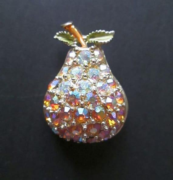 Vintage AB Rhinestone Pear Brooch Pin