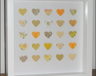 Personalised 50th Golden Wedding Anniversary Box Frame Picture - Hearts