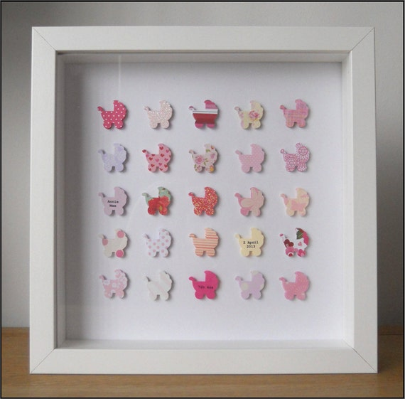 Personalised New Baby Girl Box Frame Picture Keepsake Pink