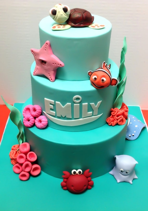 items similar to fondant elements perfect for a finding nemo themed party on etsy. Black Bedroom Furniture Sets. Home Design Ideas