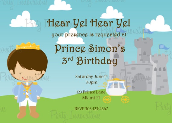 Printable Prince Birthday Party Invitation plus FREE blank – Prince Party Invitations