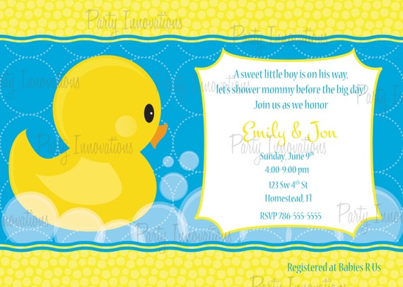 Printable Rubber Ducky Baby Shower Invitation Plus Free