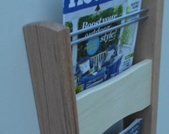 Contemporary Magazine Rack -- Wall Mounted Modern Magazine Rack -- Handcrafted From Red Oak and Aspen -- Three Tier Magazine Rack