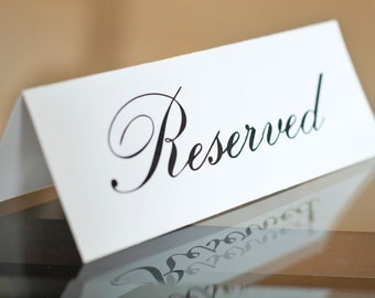 5 x 7 PRINTED Reserved Signs - Wedding Reception Ceremony Party Bridal Shower Modern Elegant Signage Folded Tent Cards - Ready to ship!