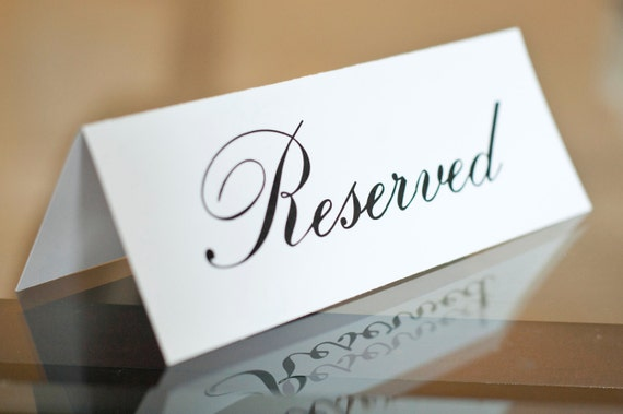table reservation card template - 5 x 7 printed reserved signs wedding reception ceremony