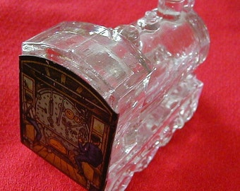 Locomotive Train Engine Glass Candy Container