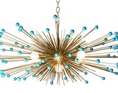 Turquoise Beaded Urchin Chandelier Lighting - Stimulight