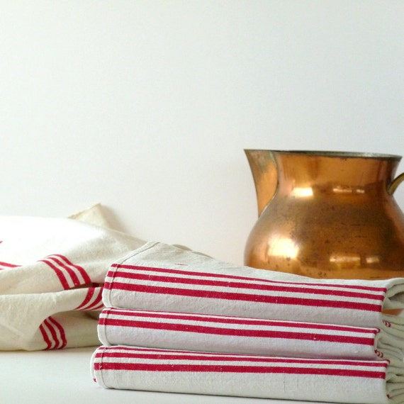 Vintage French Linen Kitchen Cloth Red Stripes By