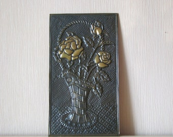 "Vintage copper ""Roses in vase"" - Wall hanging plate decor - Made in USSR"