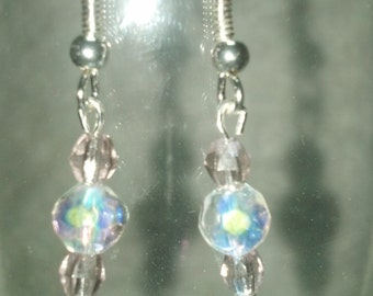 Pink with Clear Crystal Drop Earrings