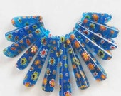 HARD to FIND:  Beautiful Lampwork Glass Pendant Bead Set - Blue, Red, Orange,Yellow Millefiore - AshiraBeads