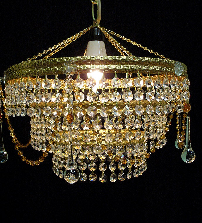 Vintage Crystal Chandelier 3 Tiers Amber Beads Gold
