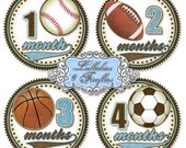 Boys MONTHLY Baby Stickers, SPORTS THEME, Little Boy, Baseball Football Basketball Soccer, Baby Shower Gift, Newborn, Photo Prop, Keepsake