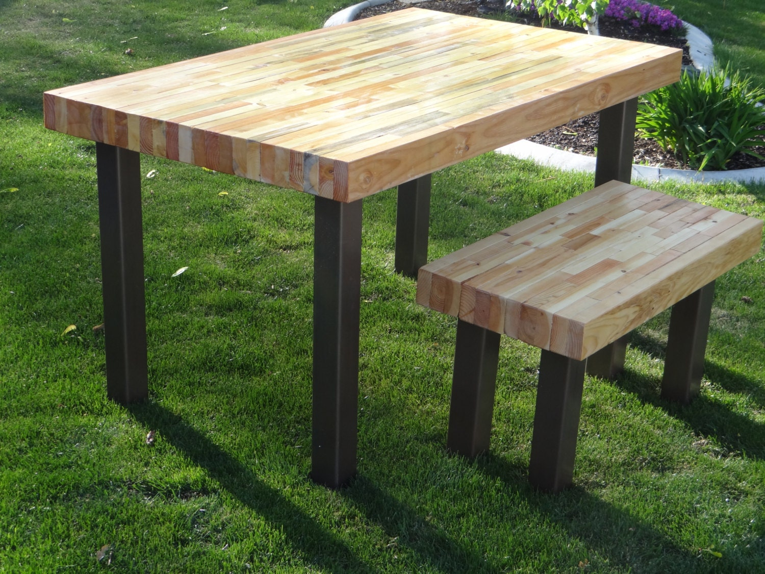 Reclaimed butcher block style wood table and bench up cycled