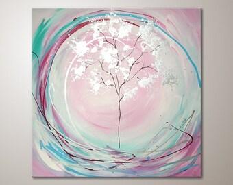 "Original modern art painting ""Dreamlight"" , abstract contemporary artwork, wall decoration,acrylics,decor, large,XXL,tree,nature"