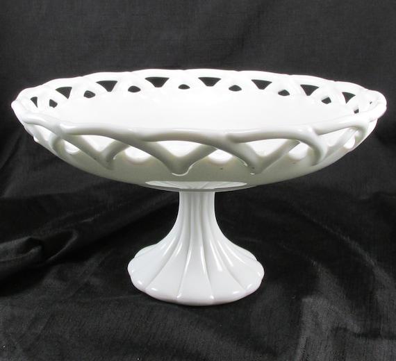 Milk glass pedestal centerpiece bowl large