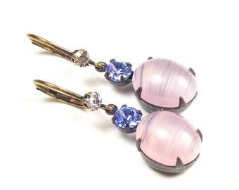 Vintage Pink Glass Drop Earrings, Handmade Vintage Style Jewellery, Soft Pink Opal