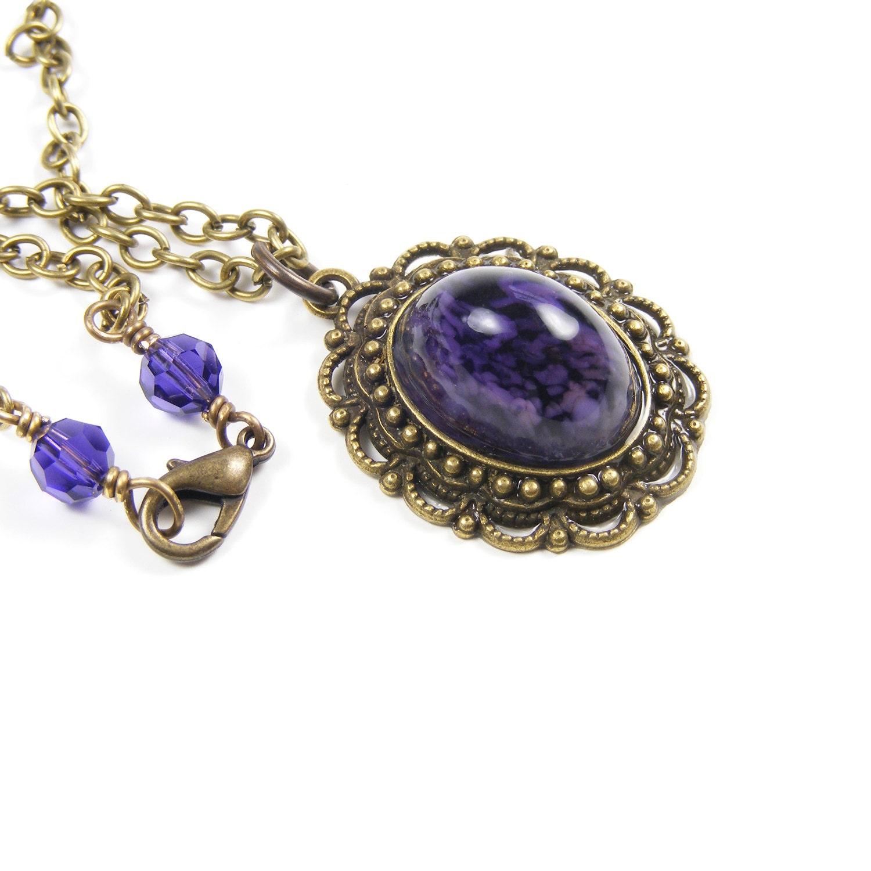 Oval Purple Pendant Necklace, Downton Abbey Inspired, Edwardian Estate Style Vintage Glass Jewelry